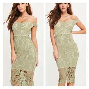 MISSGUIDED Bardot off shoulder green lace dress 4